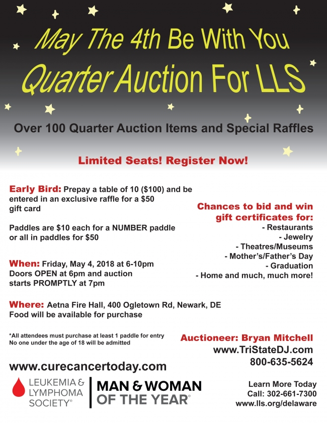 Save the Date! Quarter Paddle Auction - Aetna Fire Hall. Friday, May 4